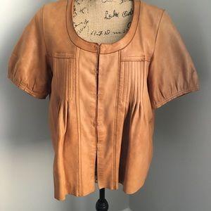 Gap Womens Tan Leather S/S Jacket Babydoll Sz M